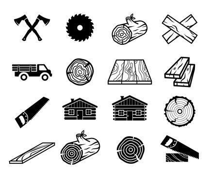 Wood icon set vector