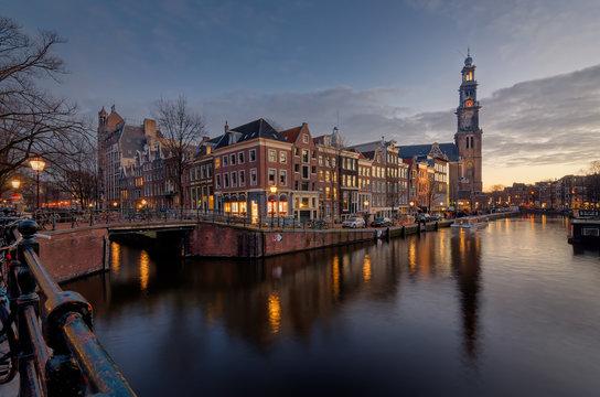 Westerkerk and Anne Frank house at sunset