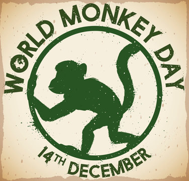 Scroll with Primate Stamp to Celebrate World Monkey Day, Vector Illustration