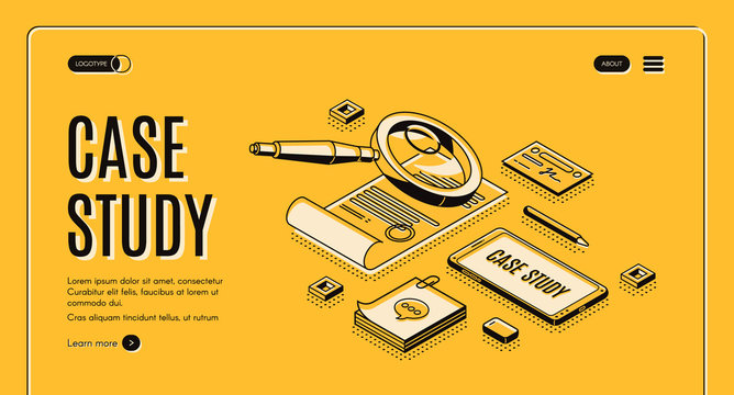 Case study isometric web banner. Business information research and analysis, magnifying glass above certificate, document with stamp, smartphone and stationery 3d vector landing page in line art style