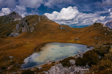 The lake of Valparola, Dolomites.