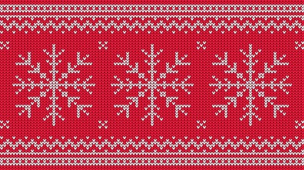 Knitted pattern with white snowflake and ornamental border on red background. Christmas sweater ornament. Vector illustration.