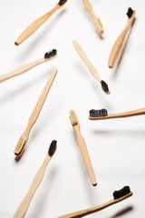 Arrangement of natural wooden toothbrushes
