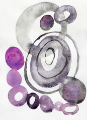 Abstract watercolor drawing with circles