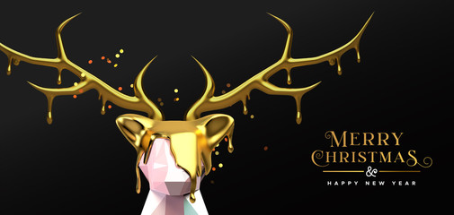Wall Mural - Christmas New Year 3d melted gold low poly deer