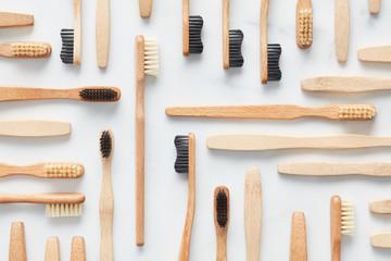 Arrangement of wooden organic toothbrushes