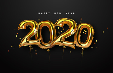 Wall Mural - New Year 2020 gold foil balloon number card
