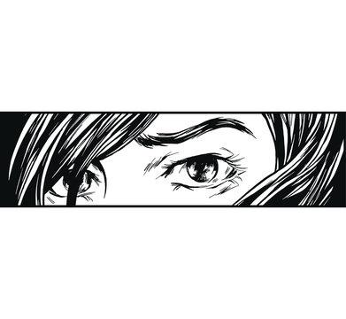 Ink drawing eyes manga illustration anime print design