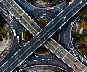 Aerial view of cars driving on elevated highway