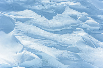 Glacier with crevices in winter
