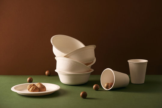 Product made from bagasse for container food, bowl or cup.