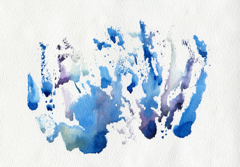 Watercolor blue print on white paper