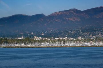 Santa Barbara Marina and the Santa Ynez Mountains
