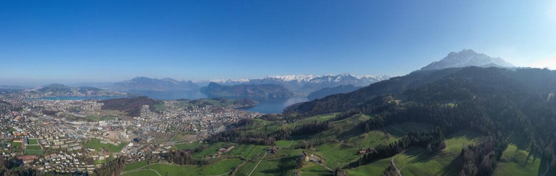 Panoramic view of Lake Lucern