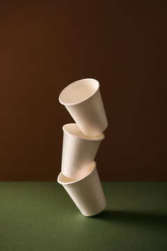 Stack of disposable cups made from bagasse