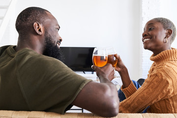 Beer cheering couple home.