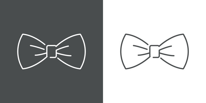 Icono plano lineal corbatín en fondo gris y fondo blanco