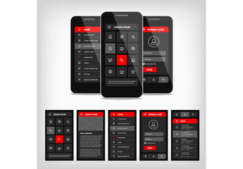 Dark Mobile User Interface Layout