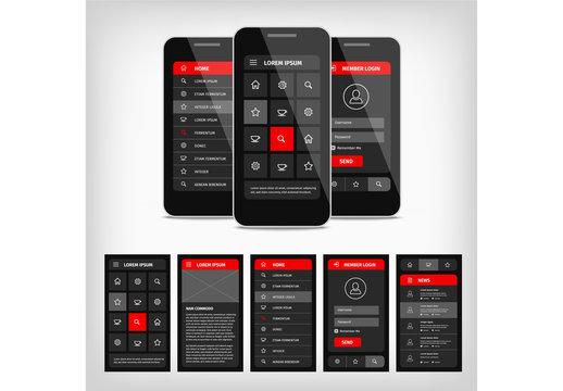 Dark Mobile User Interface Layout