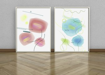 Two framed abstract watercolor artworks  resembling window with flowers, 3D rendering