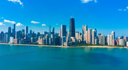 Printed roller blinds Chicago Aerial view of Chicago skyline with Michigan lake
