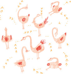 Crazy birds hand drawing set in pink and orange colour for children.