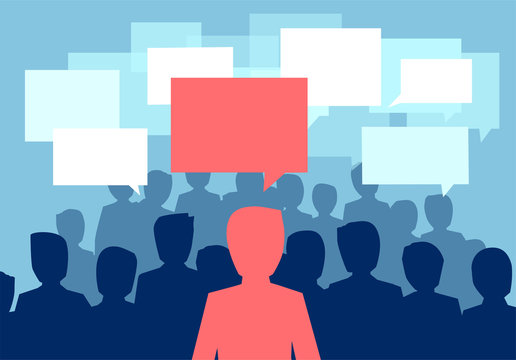 Vector of a people crowd communicating with one person having a different opinion