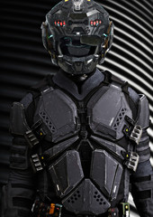 Portrait of a masked futuristic armored sci fi soldier with a studio background. 3d rendering