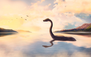 The Loch ness monster looks at the birds at sunset.