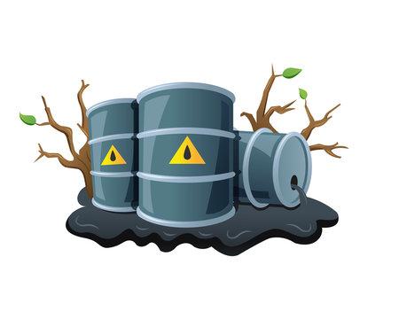 Black metal barrels and spilled oil