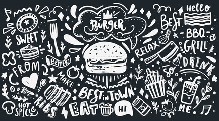 Restaurant Wall typography. Vector Food BBQ background, motivational cafe menu with lettering on chalkboard