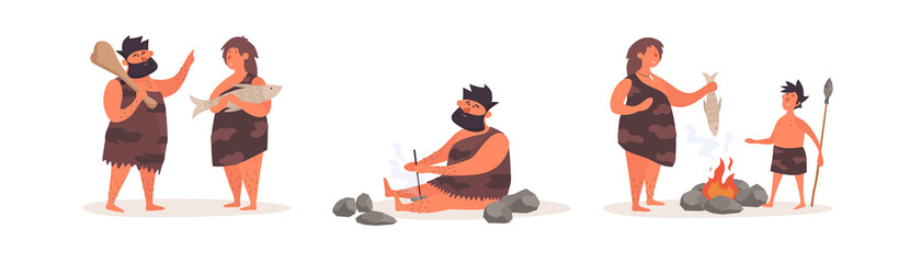 Fototapeta Collection of stone age people on an isolated white background. Primitive people get food and fire, fry food at the stake. Vector illustration in a flat cartoon style.