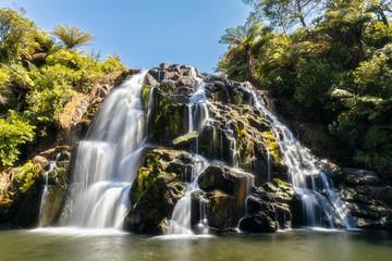 New Zealand, North Island, Waikato, Waikino, scenic view of Owharoa Falls
