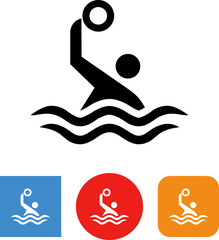 Water Polo Player With Ball Vector Icon