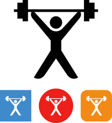 Weightlifter With Barbell Strongman Vector Icon