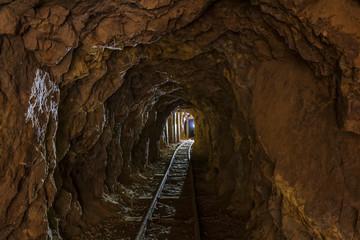 New Zealand, North Island, Waikato, railroad track in mine