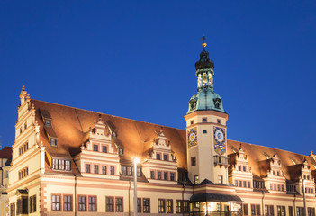 Low angle view of Town Hall Tower against clear blue sky in Leipzig at night, Germany Fotomurales