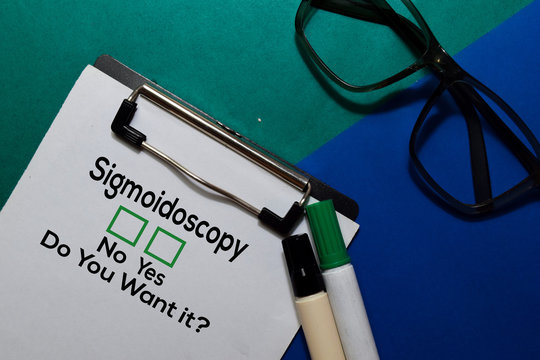 Sigmoidoscopy, Do You Want it? Yes or No. On office desk background