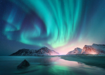 Printed kitchen splashbacks Northern lights Aurora borealis over the sea and snowy mountains. Northern lights in Lofoten islands, Norway. Sky with polar lights and stars. Winter landscape with aurora, reflection, sandy beach at starry night