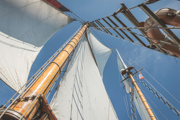 Denmark, Baltic Sea, Low angle view of gaff schooner sail