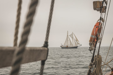 Denmark, Baltic Sea, Traditional sailing ship seen from gaff schooner?
