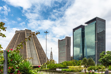 Garden and modern skyscrapers buildings downtown panorama, Rio De Janeiro, Brazil