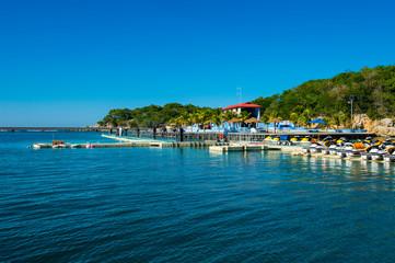 Boats moored at port in Labadee, Haiti, Caribbean