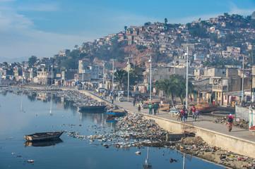 Polluted Rivi?re Mapou flowing through Cap Haitien, Haiti, Caribbean