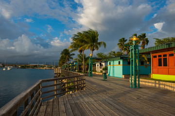 Houses on pier at Ponce harbor, Puerto Rico, Caribbean
