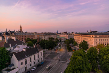 Historic center of Vienna against sky during sunset, Austria