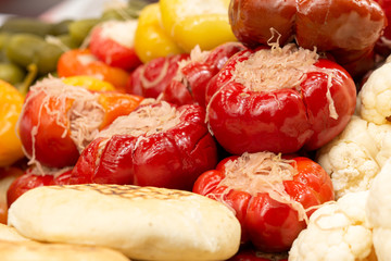 Peppers stuffed with pickled cabbage