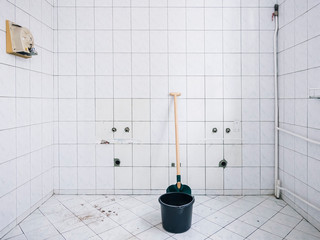 shovel and bucket house renovation bathroom with tiles