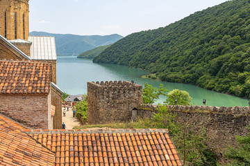 Ananuri fortress with beautiful views of the mountains and Zhinvali reservoir