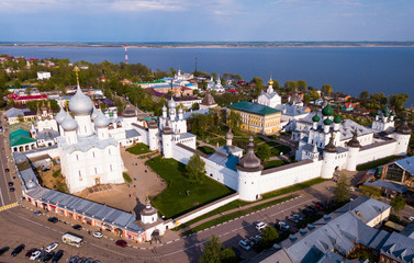 Aerial view of  city of Rostov with monastery
